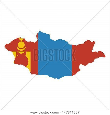 Mongolia High Resolution Map With National Flag. Flag Of The Country Overlaid On Detailed Outline Ma