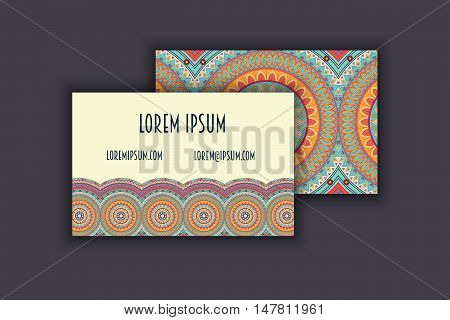 Vector Vintage Visiting Card Set. Floral Mandala Pattern And Ornaments. Oriental Design Layout. Isla