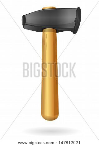Claw hammer. Hammer with the wooden handle isolated on a white background. Vector illustration