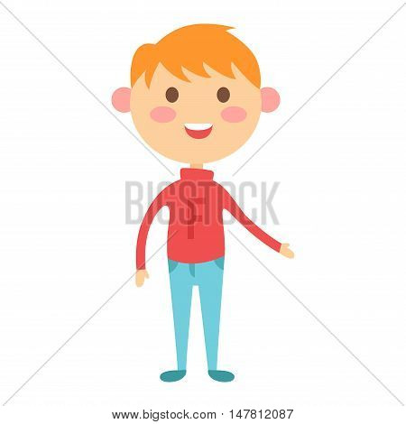 Cute baby boy character vector. Cute boy beautiful fashion young female. Cute boy schoolgirl isolayted on white