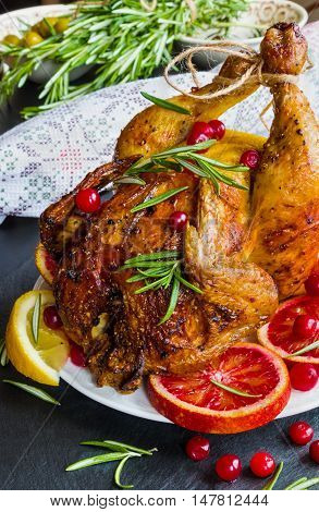 Roasted whole chicken on white plate on stone dark background. Served with red oranges lemon rosemary and cranberries.