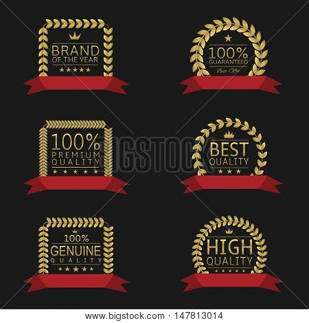Golden laurel wreath badge set with red ribbons Premium quality Best quality Quality guaranteed Genuine quality Brand of the year