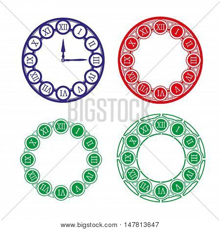 Set of different clock faces. Editable Clock easily remove and replace hands and design. Vector illustration