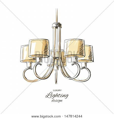 vector vintage chandelier isolated sketch hand drown furniture