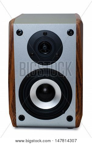 Loudspeaker in wooden case isolated on white background