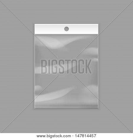 Vector Sealed Empty Transparent Plastic Pocket Bag with Hang Slot Close up Isolated on Background