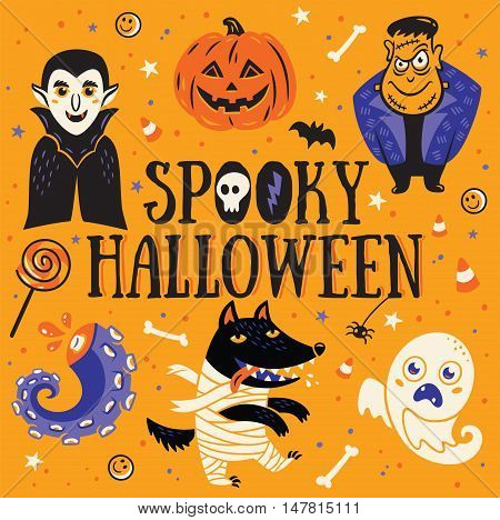 Spooky Halloween Poster or Greeting card with cartoon Dracula and Frankenstein, pumpkin, wolf, mummy and ghost. Orange background.