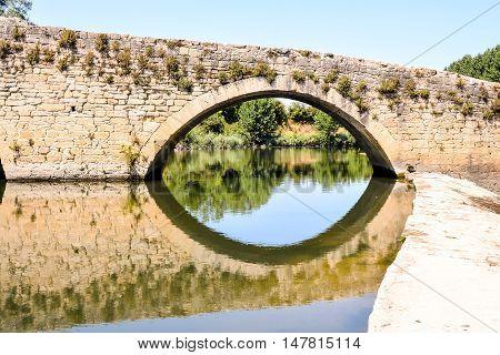 Medieval Romanesque Bridge In Spain