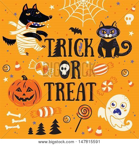 Halloween Poster or Greeting card with cartoon wolf mummy, pumpkin, cat and sweets. Trick or treat. Orange background.