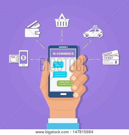 M-commerce concept banner. Contextual advertising through mobile messenger. Vector illustration.