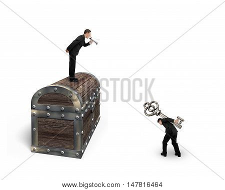 Man On Treasure Chest Command Employee Carrying Key