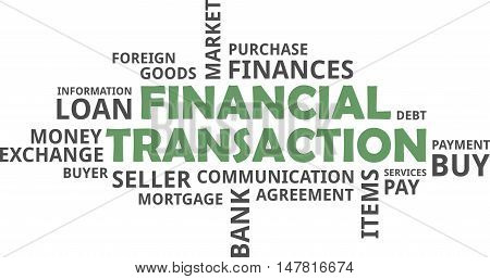 A word cloud of financial transaction related items