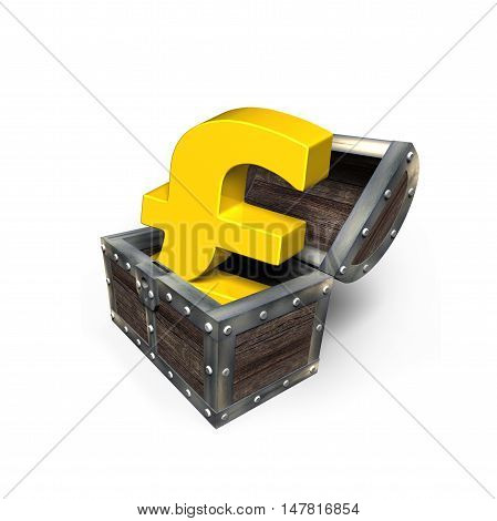 Golden Pound Sterling Symbol In Treasure Chest, 3D Rendering