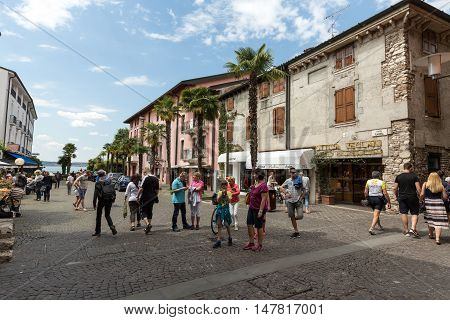 SIRMIONE ITALY - MAY 5, 2016: Piazza Catello in Sirmione Lake Garda Italy