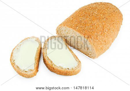 Bread with bran and sandwiches isolated on white background