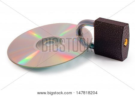 CD with closed lock isolated on white background