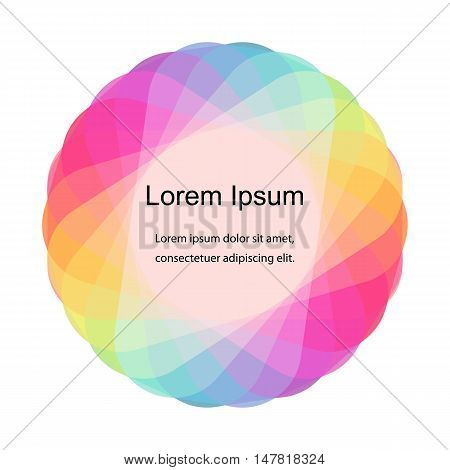 Vector Illustration. Colorful Overlapping Transparent Mosaic Circle. Template for Fliers, Banners, Badges, Posters, Stickers and Advertising Actions. Abstract Background.