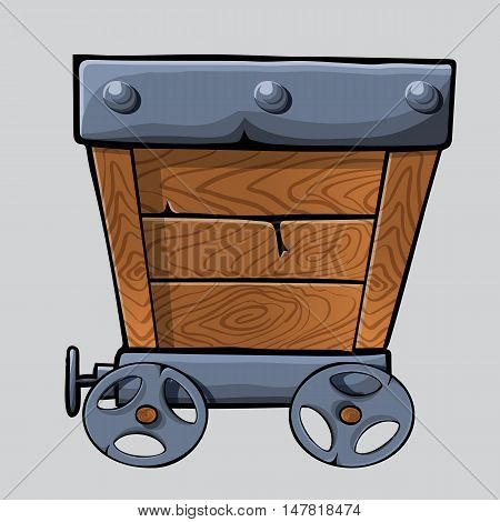 empty wooden mine cart for your designs. cartoon mine cart