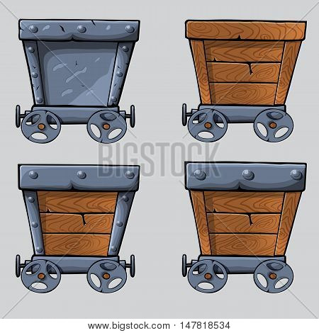 empty wooden and iron mine cart for your designs. cartoon mine cart set
