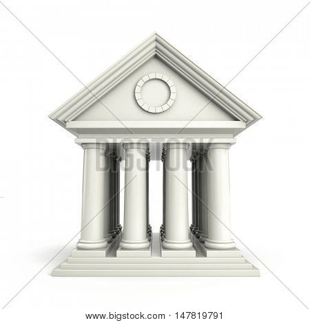 Building in antiques style. 3d illustration