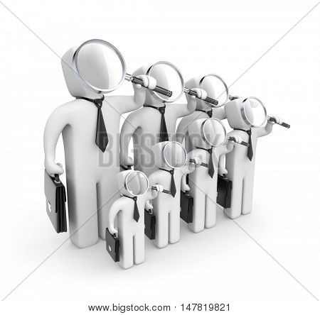 Group of businessmen with magnifying glasses. 3d illustration