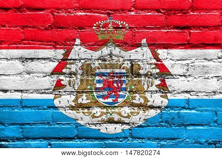 Flag Of Luxembourg With Coat Of Arms, Painted On Brick Wall