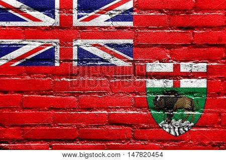 Flag Of Manitoba Province, Canada, Painted On Brick Wall