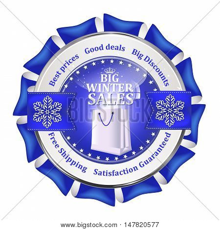 Big winter sales, best prices, good deals, big discounts, Free shipping, Satisfaction Guaranteed - shiny blue icon advertising for retail business. Contains shopping bags and snowflakes