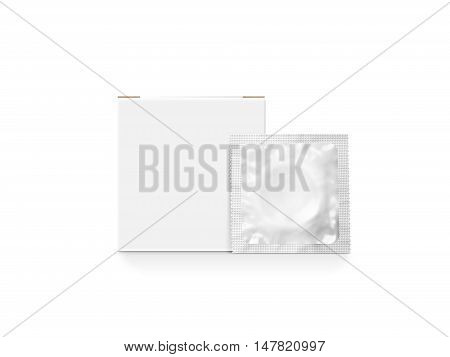 Blank white box with condom packet mockup isolated clipping path 3d illustration. Sexual protection rubber packaging design mock up. Condoms sachet pack template presentation. Sex protection brand.