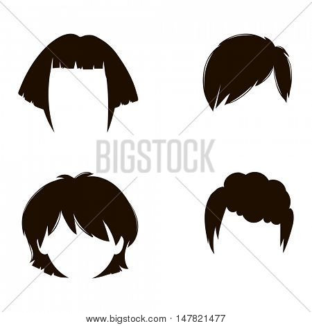 Vector woman hairstyle silhouette