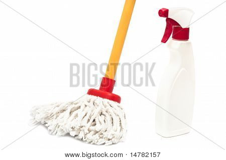 Close Up Of A Mop And Cleaner Bottle Isolated On White Background