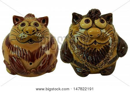 Cats brown - pottery handmade from clay glaze. Isolated on a white background