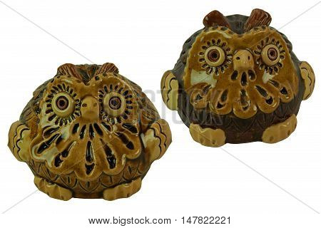 Owls brown - pottery handmade from clay glaze. Isolated on a white background