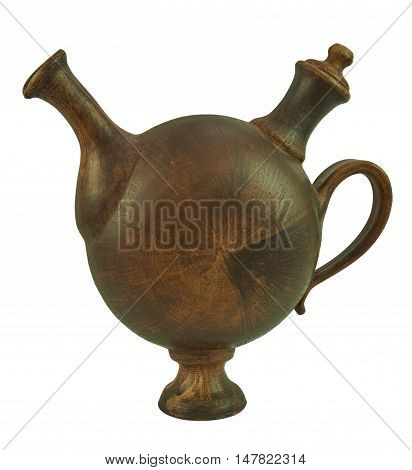 Ceramic jug with handle for beverage handmade clay. Isolated on a white background