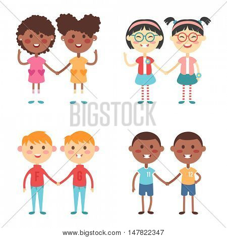 Vector cute cartoon twins brothers and sisters