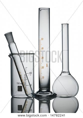 Chemical flasks isolated over white background
