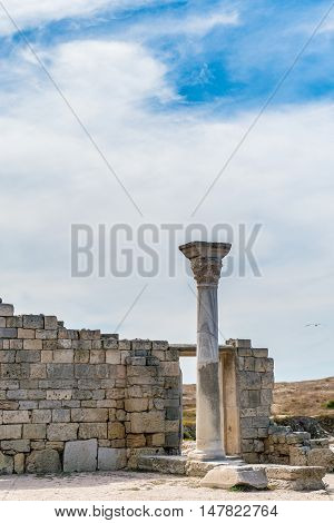 Ancient city Chersonese, ruins of Basilica 1935 VI-X c. , Sevastopol, Crimea Russia. Free space for text.
