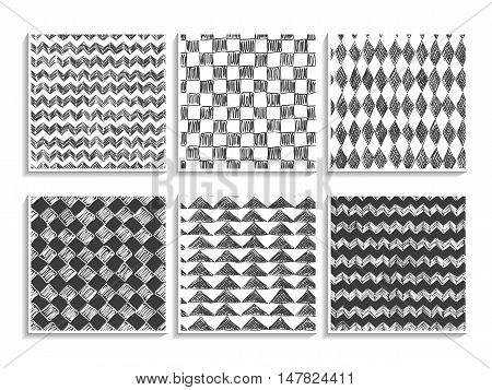 Doodle Patterns Set Sketch Textures Geometric Black