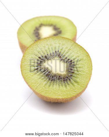 ripe green kiwifruit isolated on white background