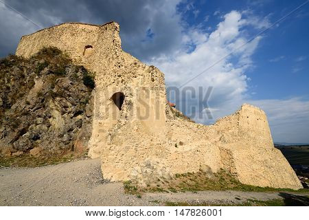Ruins of the peasant castle in the Rupea town nearby Sighisoara Romania Transylvania