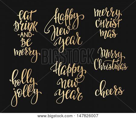 Merry Christmas Happy New Year simple lettering set. Calligraphy postcard or poster graphic design lettering element. Hand written postcard design. Photo overlay Winter Holidays sign detail. Cheers