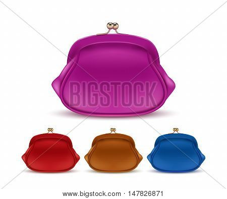 Retro purses for coins isolated on white background.