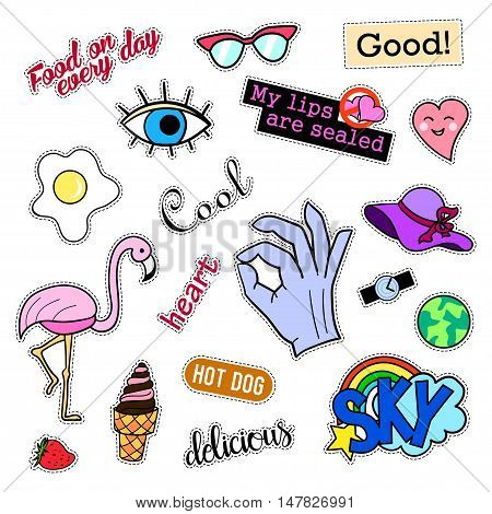 Fashion patch badges. Big set. Stickers, pins, embroidery, patches and handwritten notes collection in cartoon 80s-90s comic style. Trend. Vector illustration isolated. Vector clip art.