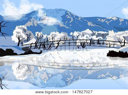 vector illustration winter landscape with reflection on the frozen lake