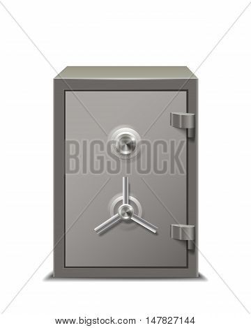 Security metal safe closed isolated on white background.