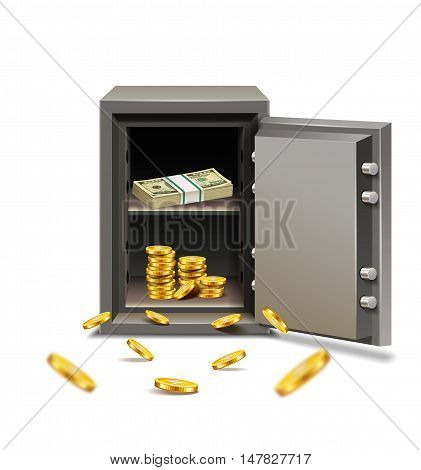 Security metal safe opened with dollars and coins isolated on white background.