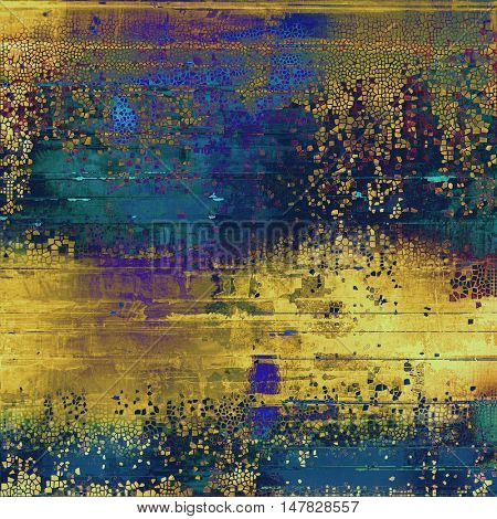 Oldest vintage background in grunge style. Ancient texture with different color patterns: yellow (beige); brown; green; blue; purple (violet)