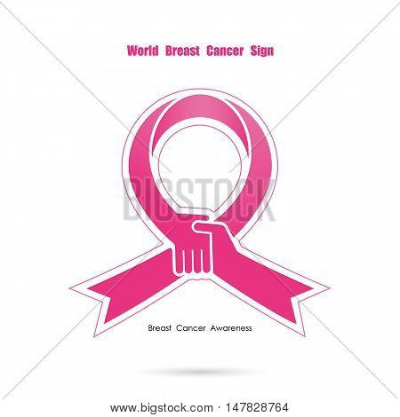 Pink handshake and help logo elements design.Breast cancer awareness logo design.Breast cancer awareness month icon.Realistic pink ribbon.Pink care logo.Vector illustration