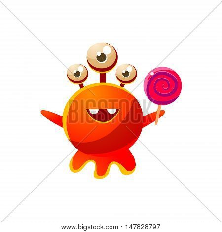 Red Three-Eyed Toy Monster With Lollypop Cute Childish Illustration. Cartoon Colorful Alien Character With Party Attribute Isolated On White Background.