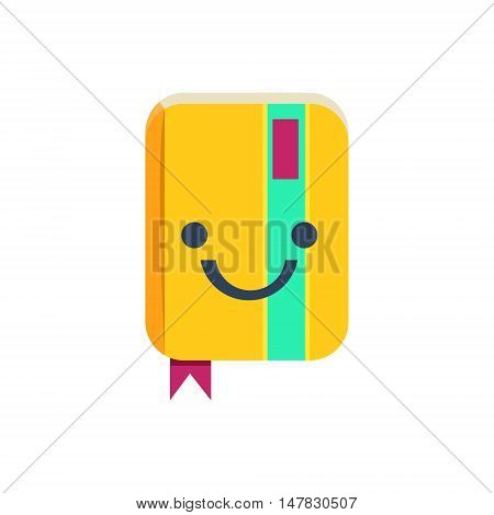 Closed Organizer Primitive Icon With Smiley Face. Office Or School Desk Supply Sticker In Simplified Childish Cartoon Vector Design Isolated On White Background